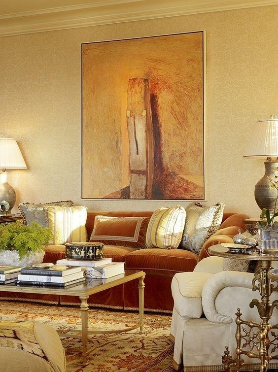 C In This Picture Of A Living Room If You Have Rust Coloured Sofa Then  Using Satin Sheen Gold Colour Will Add Beauty To Your Room And Can Use The