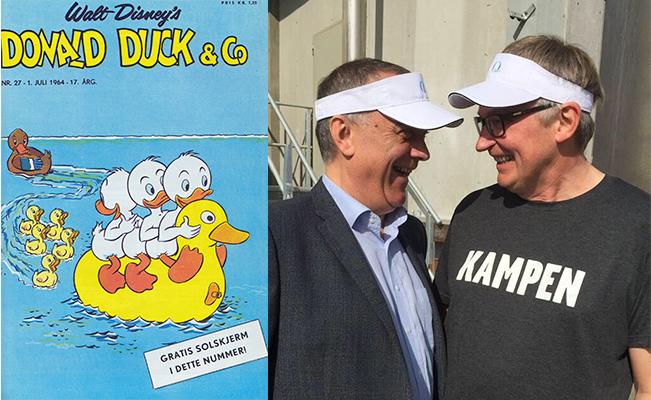 """Det er et """"MÅ-HA"""" Donald solskjerm i sommerferien! Til høyre ser du Jan Raad (salgsdirektør i Q) og meg: klare for ferie!"""