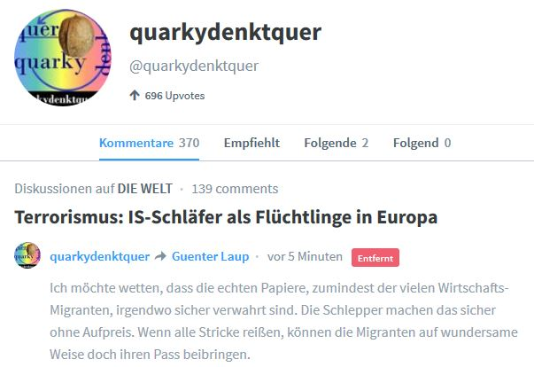 Pfingstsonntag Wieder Beitrag auf WeLT.de geloescht