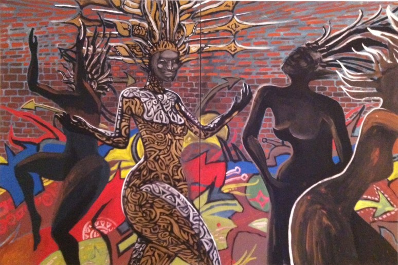 Live Painting.  New Times Event.  She.  Dip-tic 6'X5'  $1000