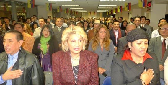 El público que asisitió a escuchar a los candidatos a la Asamblea Nacional de Ecuador.
