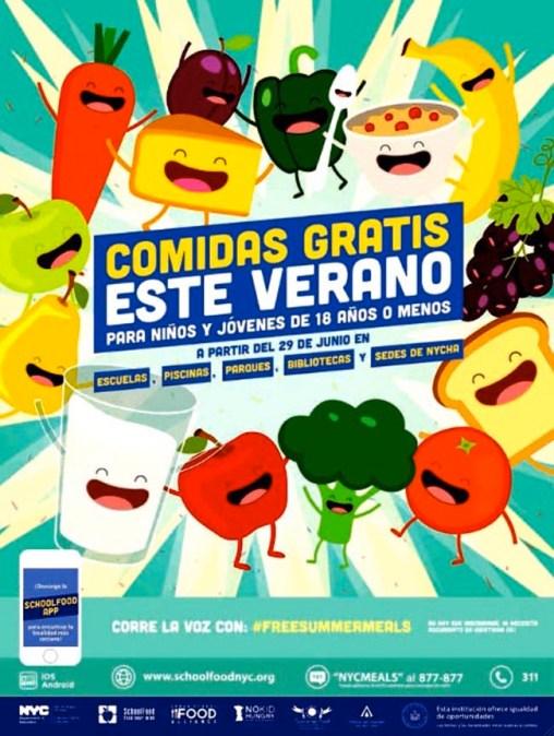 Comidas gratis y nutritivas en el verano para menores de 18 años en las escuelas públicas de NY