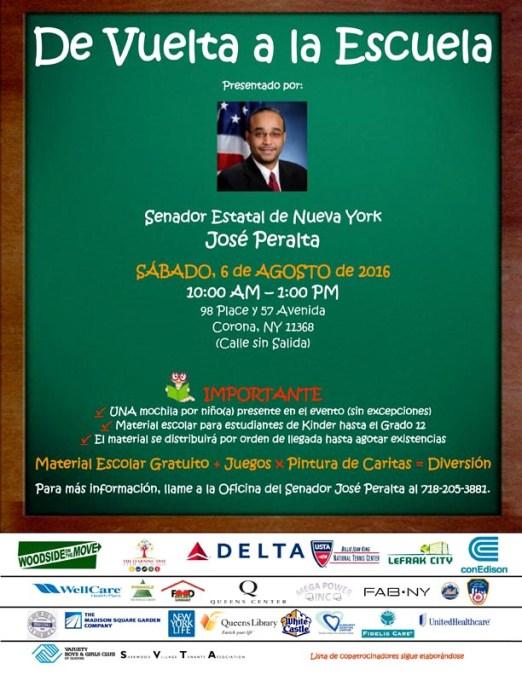 Senador Peralta distribuye utensilio escolares gratis el sábado 6 de agosto en Corona