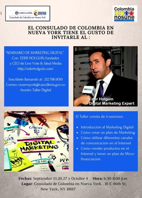 Eder Holguín dicta cursos de mercadeo digital (e-marketing) en el Consulado de Colombia en NY del 13 de septiembre al 4 de octubre