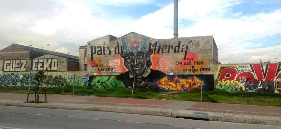 Mural alusivo a Jaime Garzón en la calle 26 de Bogotá. Foto Javier Castaño