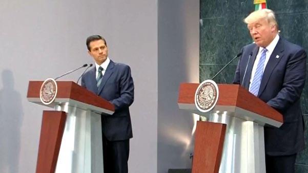 Trump visita México y no se disculpa e insiste en el muro