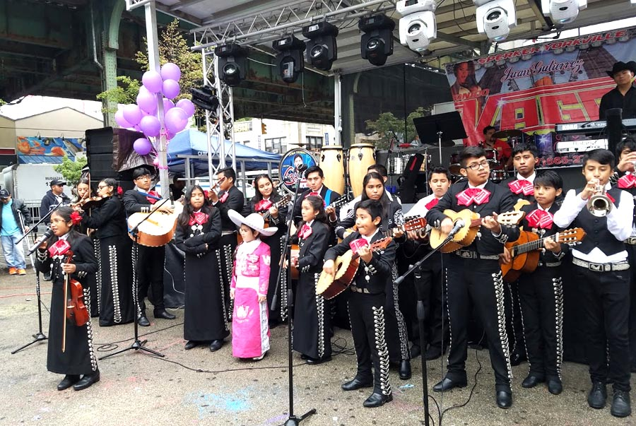 Mexican mariachis were part of the celebration in Corona Plaza.