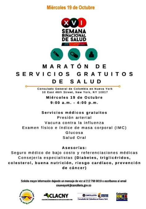 Semana Binacional de la Salud del Consulado de Colombia en Nueva York