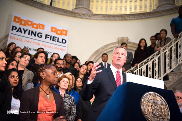 Mayor de Blasio Signs Executive Order Banning City Agencies from Inquiring About Salary History of Job Applicants