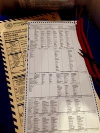 Papeleta de votación en una de las urnas individuales.