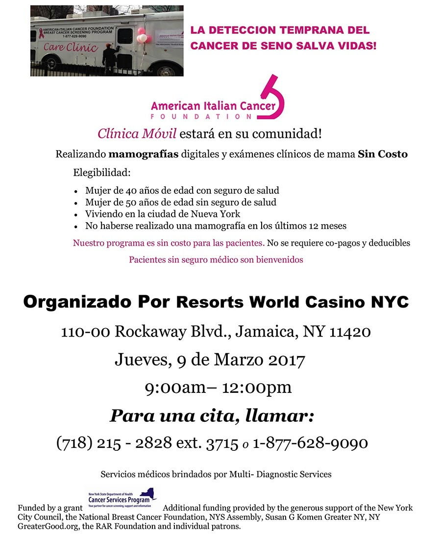 Cancer seno Resorts World Casino NYC