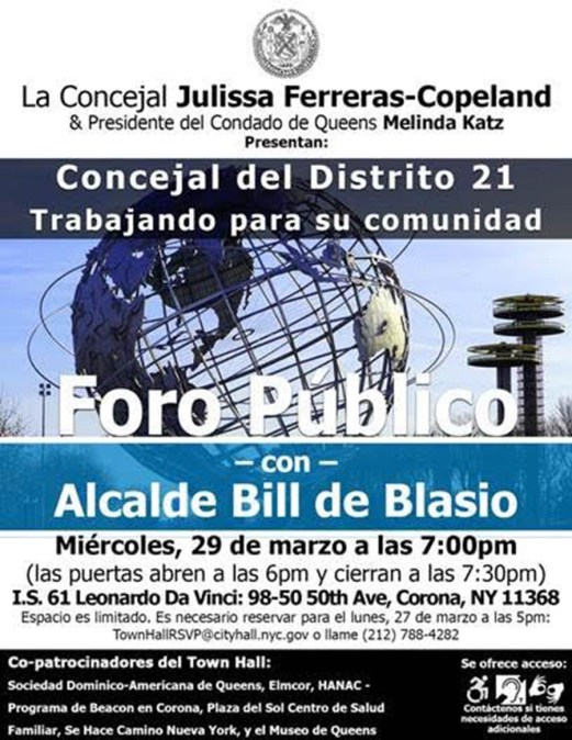 Foro público (Town Hall Meeting) este miércoles en Corona con el alcalde de NY Bill de Blasio