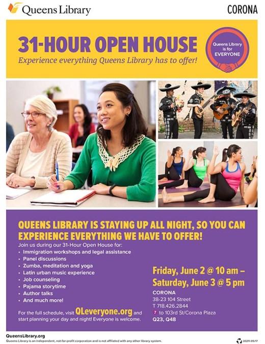 Biblioteca de Corona abrirá toda la noche del viernes 2 de junio por la comunidad