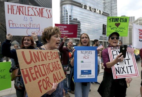 Protestas contra plan de salud del Senado