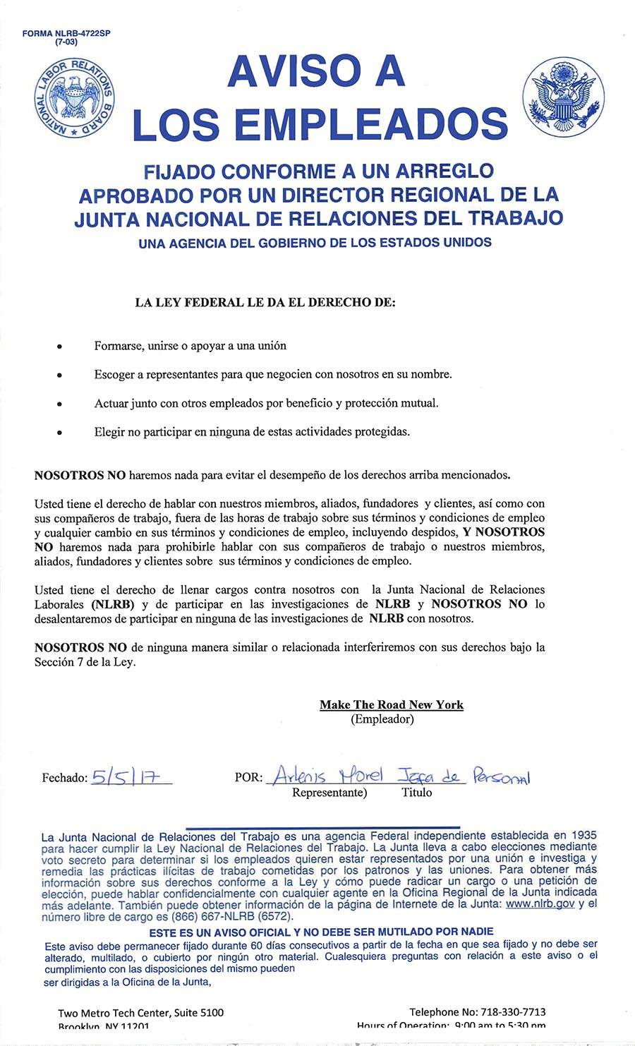 El documento que MRNY fue obligado a colocar en sus instalaciones por orden de la NLRB.