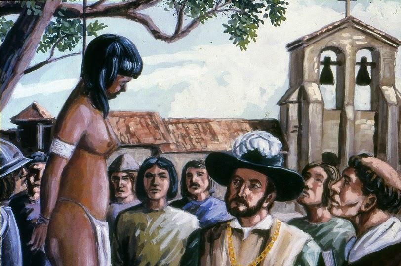Reina Anacaona colgada de un árbol por los españoles.