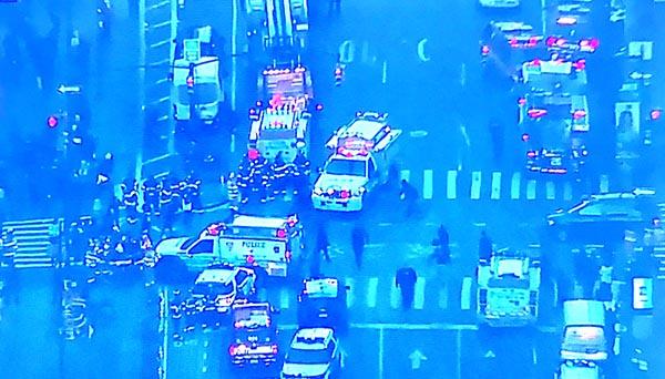 Imagen aérea de la calle 42 y la Octava avenida después de la explosión.