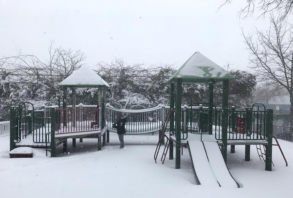 Muy pocos niños acudieron a los parques públicos a jugar con la nieve desafiando el frío y el viento.