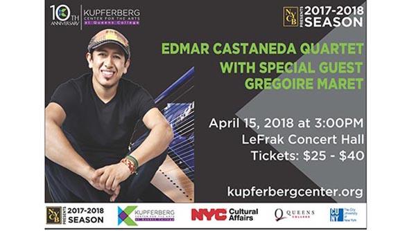 Arpista Edmar Castañeda en Queens College el 15 de abril