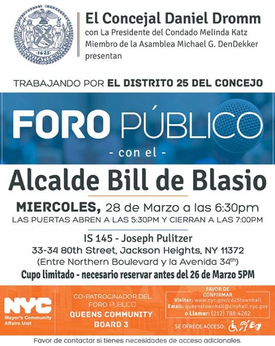 Alcalde de Blasio viene a Jackson Heights el miércoles 28