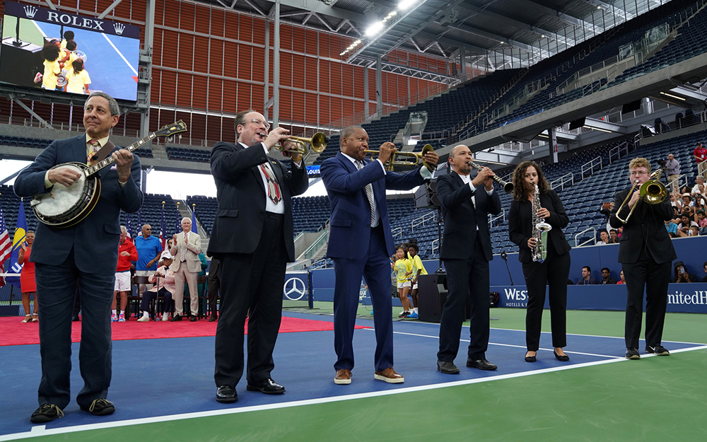Wynton Marsalis performs at the grand opening of Louis Armstrong Stadium at the 2018 US Open. Photo courtesy USTA