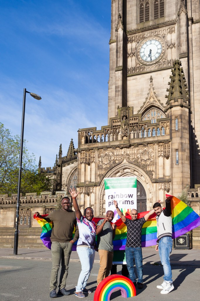 Image Caption: LGBT refugees at the Rainbow Pilgrims photo shoot in Manchester. Credit: Susanne Hakuba