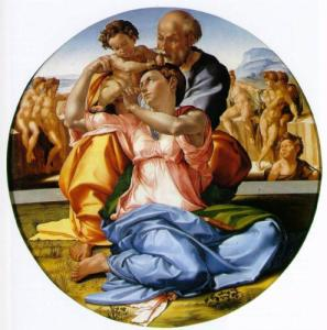 Holy family with St John the Baptist - Michaelangelo