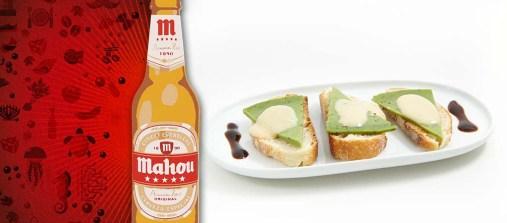 Tapería Stefany. Mini Mahou. Queso de Albahaca con crema de cerveza. (c/Oliva 16)