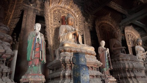 Estatuas de Buda en el Salón Da Xiong Bao del Templo Shanhua de Datong