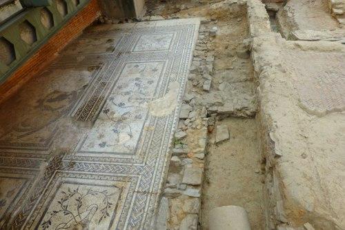 Mosaico del oso y los pájaros en la Domus Romana de Astorga