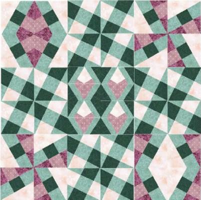 Quiltefants oplæg til et X-Blocks tæppe.