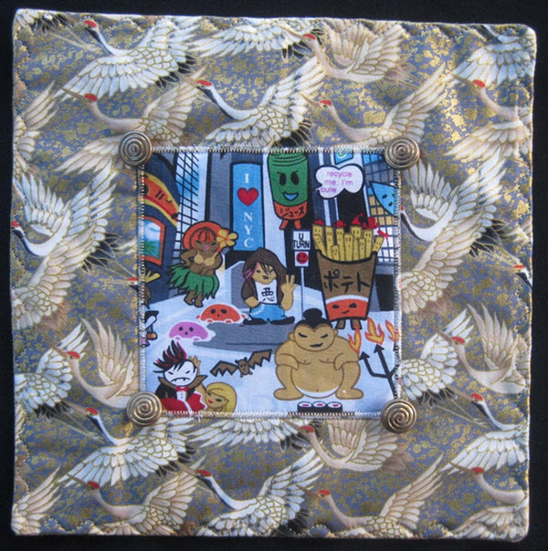 Serendipitous mini quilt Japanese fabric