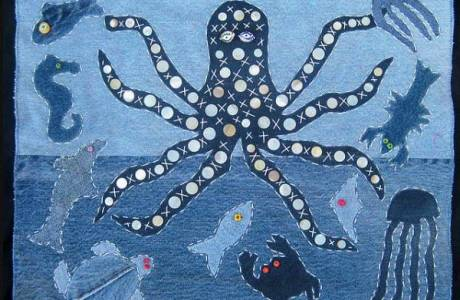Denim sea creature projects + tute