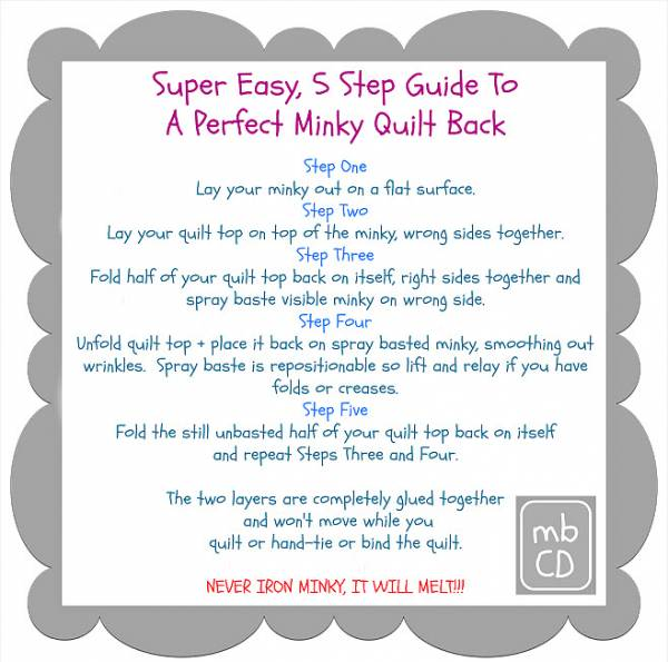 Tutorial Perfect Minky Quilt Back
