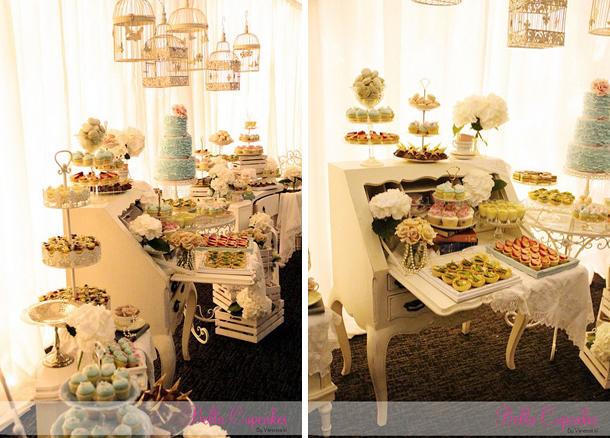 Dessert buffets using vintage furniture