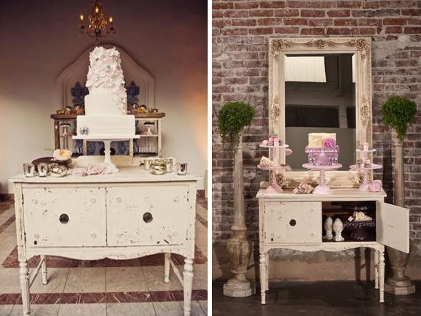 Vintage furniture for wedding cake display