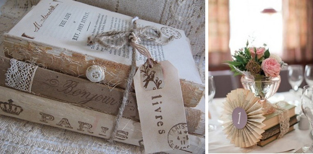 Vintage wedding decor - books