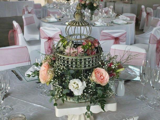 Birdcage floral centrepiece
