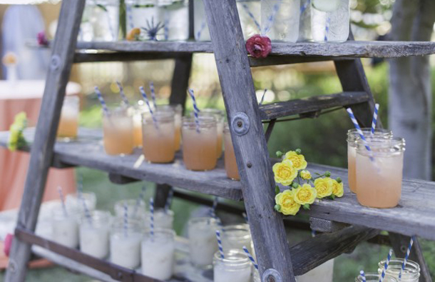 Rustic wooden ladder for drinks - Vintage decor hire - Quirky Parties