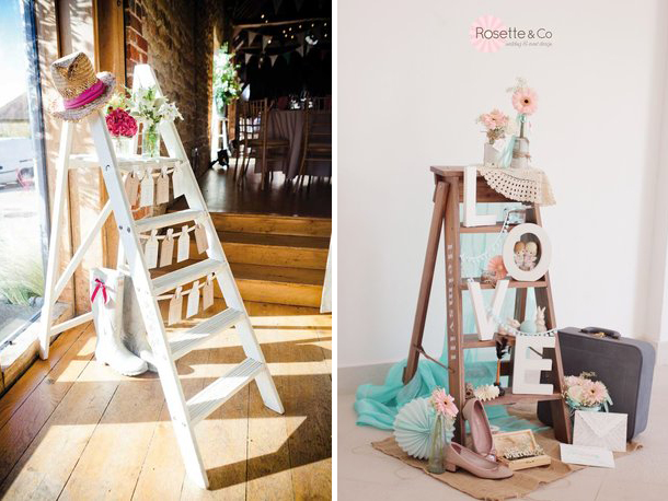 wooden ladders for wedding decor - Quirky Parties