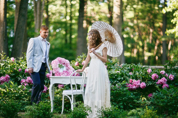 White wedding parasols