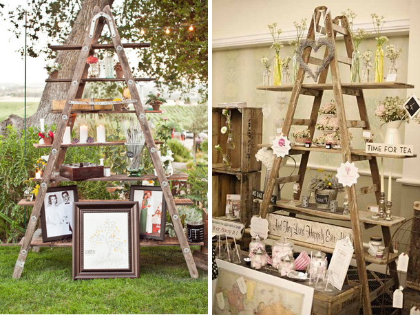 wooden ladders as decor feature at weddings - Quirky Parties