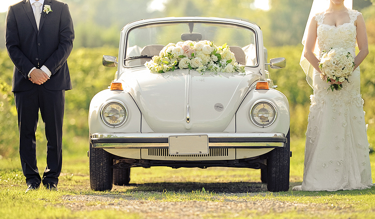Quirky Parties Car Decor Floral Bride and Groom