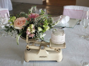 Floral centerpiece in vintage scale