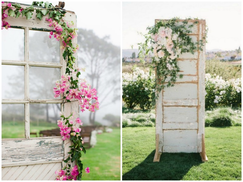 Floral decor vintage doors - Quirky Parties