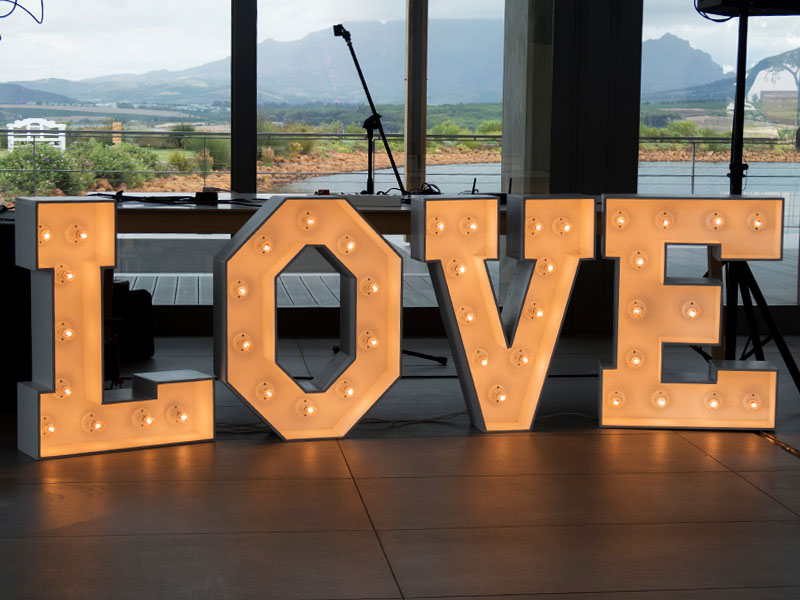 Marquee LOVE lights - Jenna and Neil - Wedding Cavalli Estate