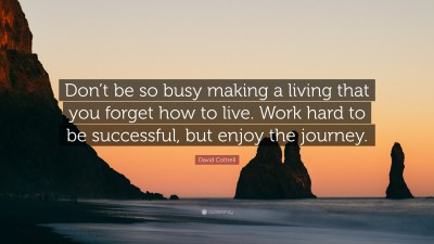 """David Cottrell Quote: """"Don't be so busy making a living that you forget how to live. Work hard ..."""