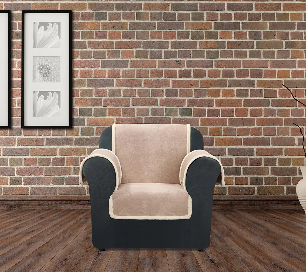 sure fit vintage leather chair furniture cover w sherpa back h209475 the brick