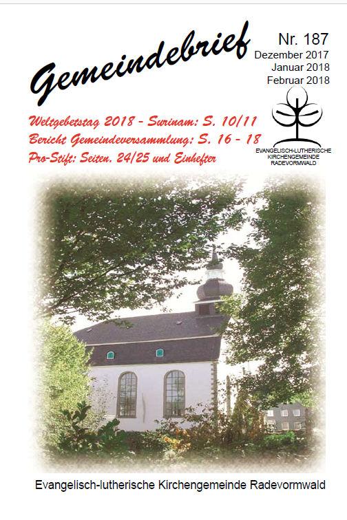 Gemeindebrief 187 - Weihnachten 2017