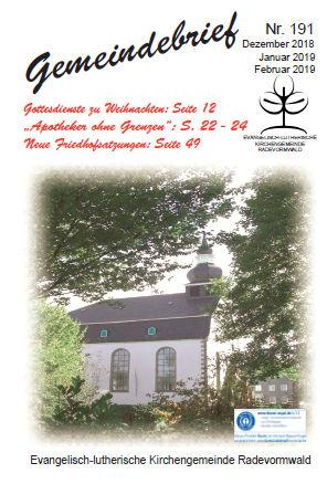Gemeindebrief 191 - Dezember 2018
